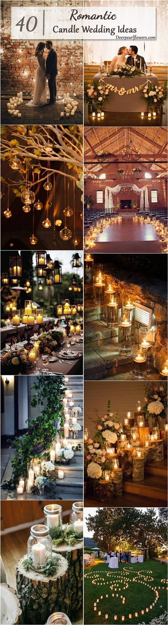 Rustic Country Wedding Ideas with Candles / http://www.deerpearlflowers.com/wedding-ideas-using-candles/4/: