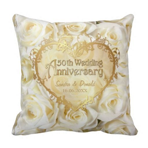 White Rose Elegance - 50th Wedding Anniversary Pillow