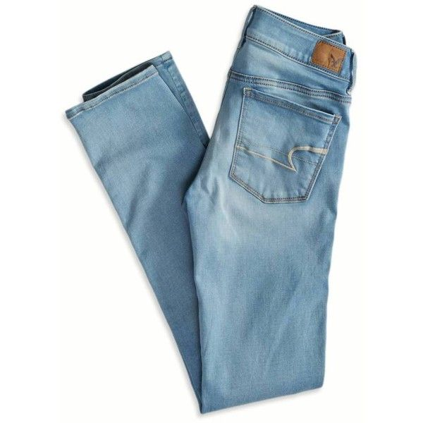 American Eagle Outfitters Skinny Jeans (2,315 INR) ❤ liked on Polyvore featuring jeans, pants, bottoms, stretch jeans, light wash jeans, faded skinny jeans, long jeans y slim fit jeans