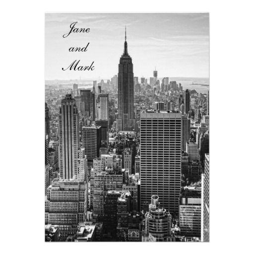 NYC Skyline Empire State Building WTC BW Wedding Custom Invite