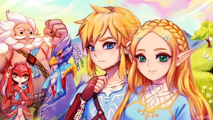 Timelapse video watch on youtube ♥ characters from Breath of the Wild (left to right): Daruk, Mipha, Revali, Link, Zelda oh my gosh I made it in time for the release date XD In about 1 day (l...