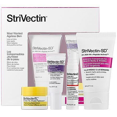 StriVectin Most Wanted Ageless Skin Set by StriVectin. $85.00. What it is:An antiaging skincare set designed to combat wrinkles and produce an even skintone.What it is formulated to do:This powerful skincare kit reduces wrinkles and age spots, while producing visibly younger skin with a healthy glow. The patented NIA-114™ rebuilds skin's natural barrier and boosts the effects of key ingredients such as peptides for wrinkles, vitamin c and hexylresorcinol for ev...