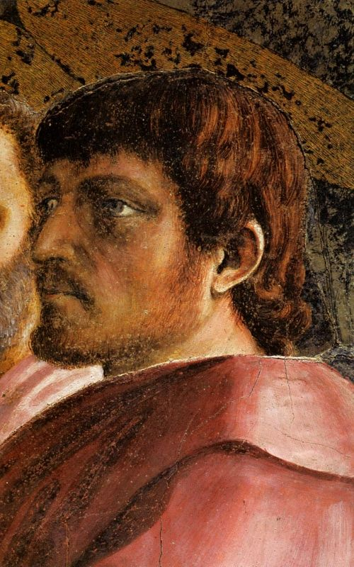 Masaccio, self-portrait, detail from The Tribute Money, 1425-8, fresco in Brancacci Chapel, S.Maria del Carmine, Florence