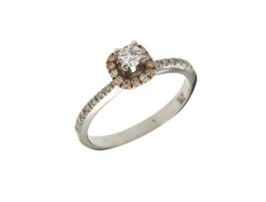 Δαχτυλίδι Μονόπετρο vintage style λευκό και ροζ χρυσό με διαμάντια 34399