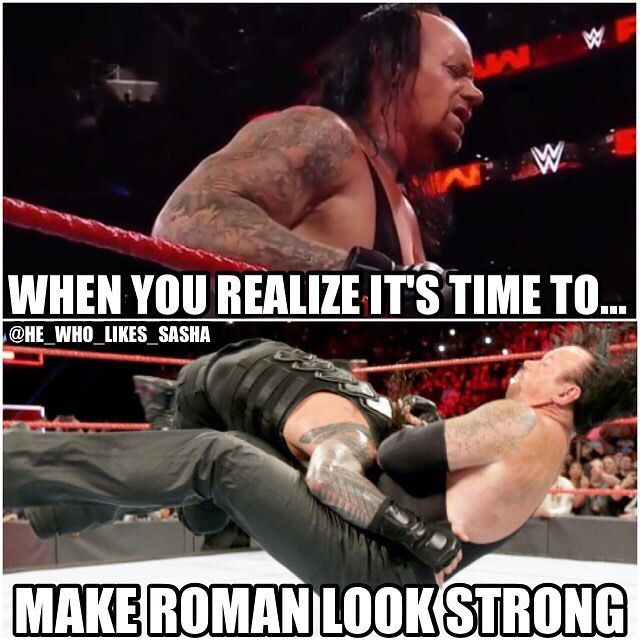 He's like...oh shit time to eat a spear 😂😂. Seriously though I'm worried about taker he looked gassed here after just a small amount of combat with braun. Hopefully he doesn't have any problems at Wrestlemania.  #wwe #wwememe #wwememes #romanreigns #romanempire #theshield #sethrollins #deanambrose #wrestlemania #wrestler #wrestling #wrestlingmemes #prowrestling #professionalwrestling #wwenxt #worldwrestlingentertainment #wweuniverse #kane #wwenetwork #wwesuperstars #raw #wweraw #wwf…