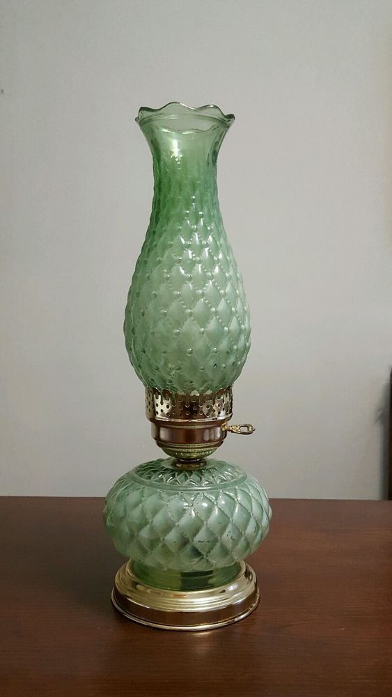 vintage green beaded diamond quilted table lamp opalescent stained