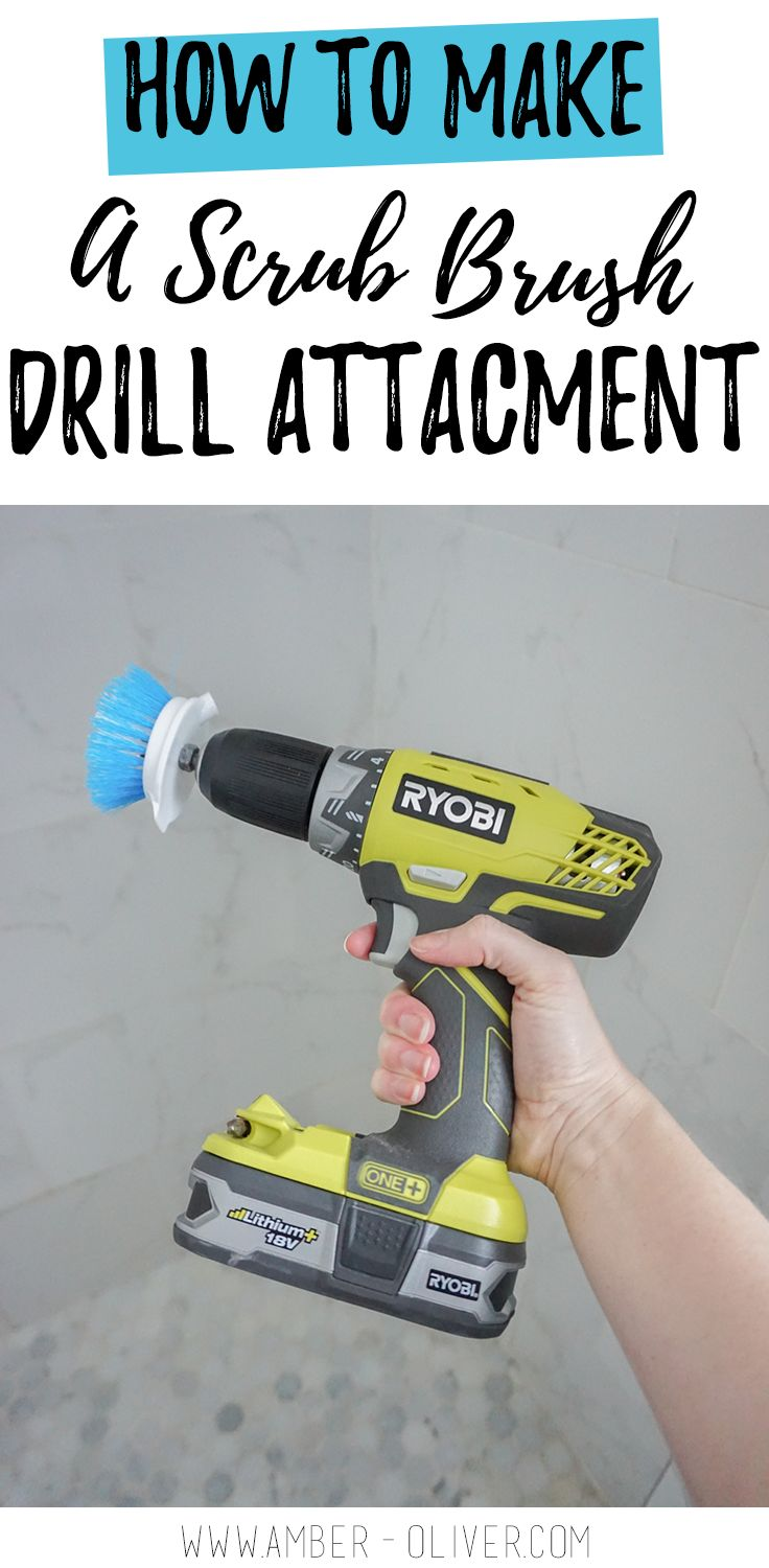 You can make a drill scrub brush for less than $2! I made this DIY drill brush with a dish scrubber from the Dollar Tree and a 50 cent bolt and hex nut. Easy to attach to your drill and get hard to scrub tile extra clean! #springcleaning #cleaninghacks #diy