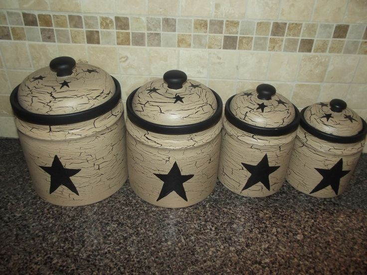 Primitive Crackle Painted Set Of 4 Canisters Black Stars