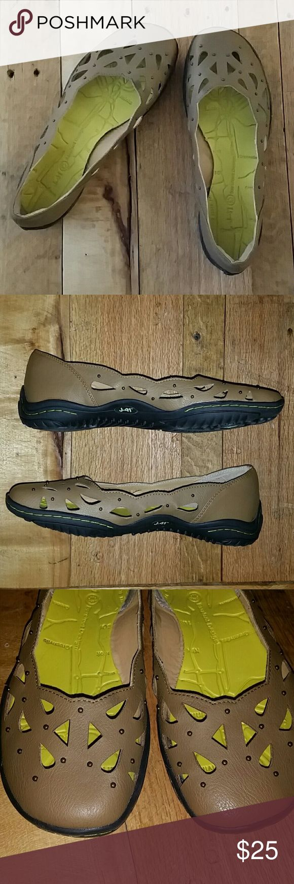 J 41 Barefoot Design tan flats Excellent condition.  Worn once. Soles are perfect. Extremely comfortable and cute too. J 41 Shoes Flats & Loafers