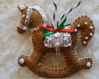 Felt gingerbread & lace rocking horse ornament-Personalized Babys First Christmas or baby shower ornament-Handmade Felt hobby horse ornament