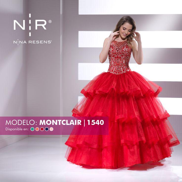 Pequeñas les presentamos el modelo Montclair. Es un vestido  de 2 piezas con talle bordado decorado con cristalería y pedrería. ¡Hermoso! Disponible en color: Aqua, Coral, Rojo, Azul Rey y Rosa Pastel #XvAños #Party #Montclair #Chic #Dress by #Ninaresens.