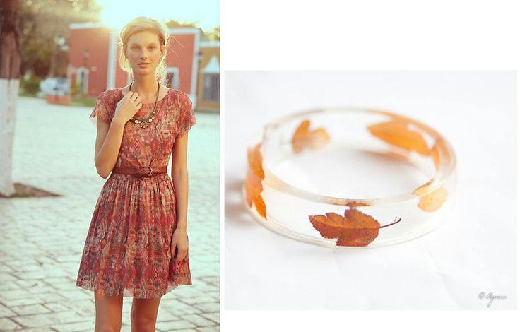 Caramel dress and real leaves bangle #caramel #dress #bangle #bracelet #leaves