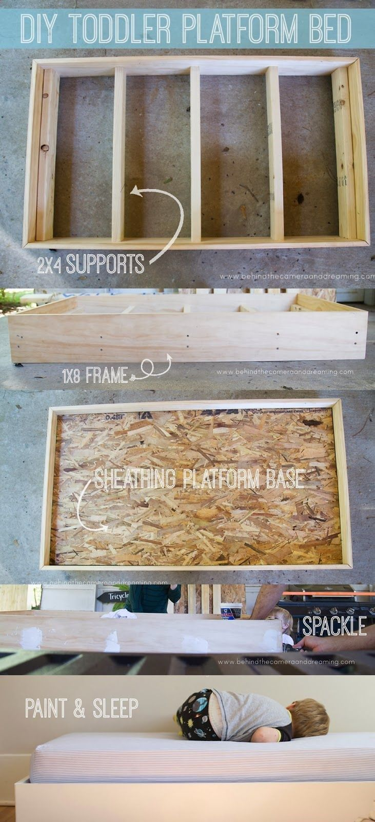 Behind the Camera and Dreaming: DIY Toddler Bed #toddler #diy | Modern Home Decor