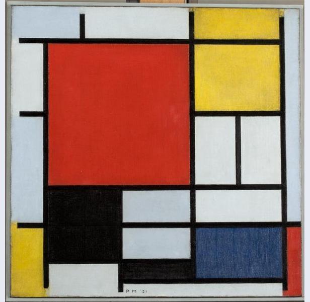 Piet Mondriaan - Compositie met groot rood vlak, geel, zwart, grijs en blauw (1921) | Gemeentemuseum Den Haag De Stijl