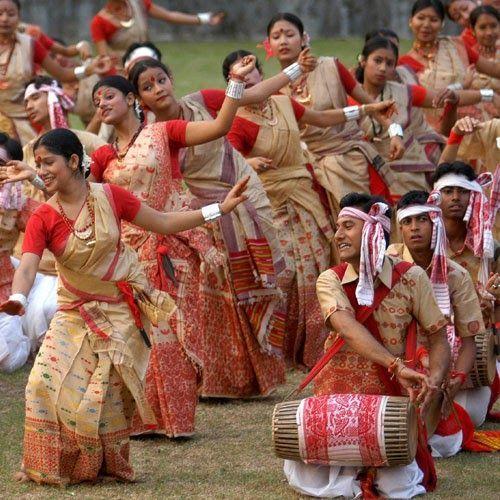 The colorful Bihu Dance of Assam, India.