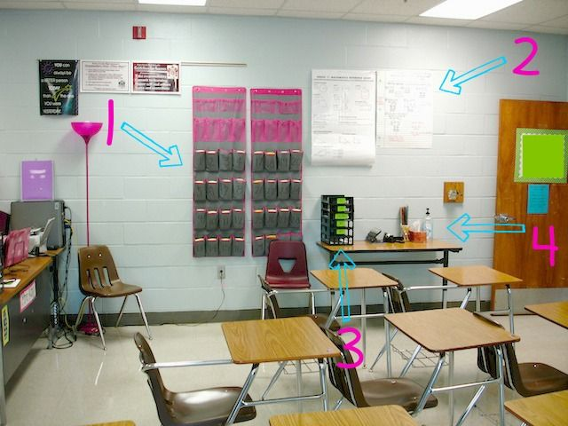 Classroom Decor Store ~ Using shoe holders to store calculators and other supplies