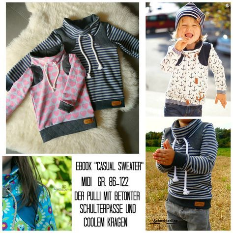 """Kindermode - Ebook """"Casual Sweater"""" Midi - Pullover für Kinder - ein Designerstück von Schneiderline-MinisandMore bei DaWanda"""