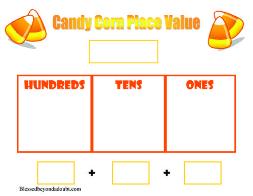 free candy corn place value worksheets homeschool place value worksheets and other. Black Bedroom Furniture Sets. Home Design Ideas