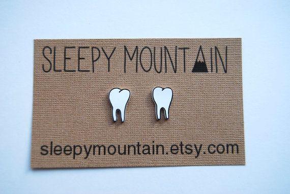 Teeth Earrings  Molars  Tooth Stud Earrings  by SleepyMountain, $8.00
