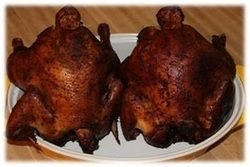 Brine smoked chicken is an American classic dish that requires a long time commitment with a great tasting result.