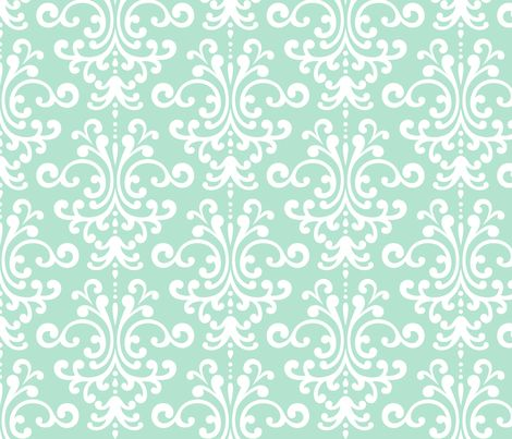 damask lg mint green and white fabric by misstiina on
