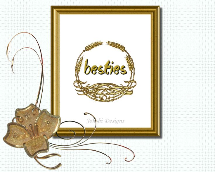 GOLD PRINT -BESTIES - Gold on white. digital download - printable art.Wall decor by JohshiDesigns on Etsy