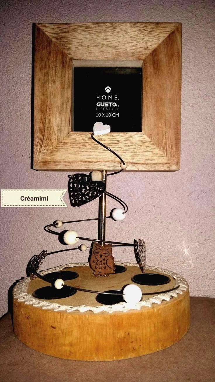 Decoration a poser . 5 emplacements pour y mettre des bougies , des petits catus ou vos petits bijoux. Et un cadre pour mettre votre plus jolie photo! Vous pouvez retrouver mes créations sur ma page Facebook vous y retrouvez également le lien  de ma boutique en ligne! https://www.facebook.com/creation.fait.main06