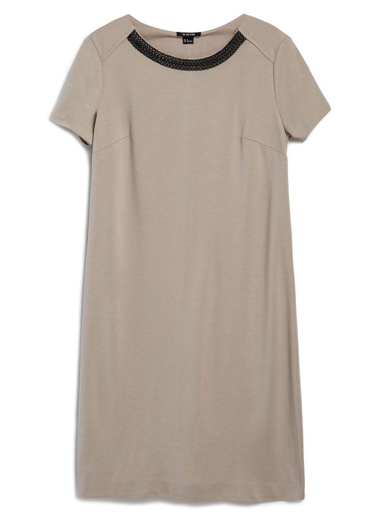 Купить ПЛАТЬЕ ПРЯМОЕ С ДЕКОРОМ ПО ГОРЛОВИНЕ (LT1O62) в интернет-магазине одежды O'STIN