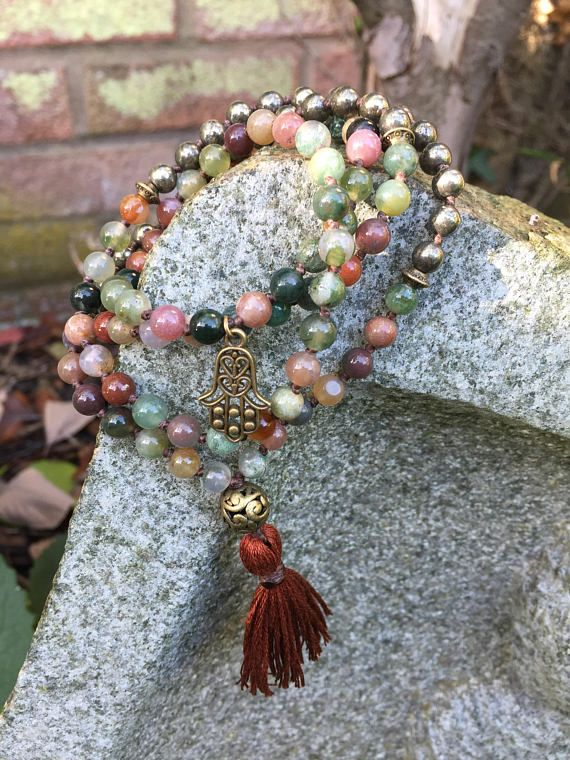 Beautiful mala beads in Indian Agate and Pyrite