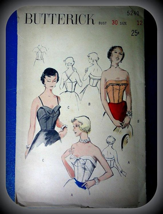Vintage Butterick Strapless Or Halter Top Pattern by outlawheart, $24.00