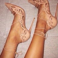 Cut Out Lace Up Pointed High Heels from Fashion Struck