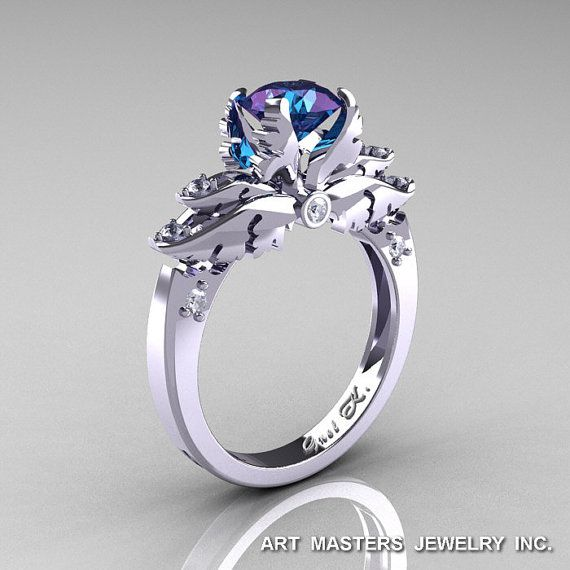 Classic Angel 14K White Gold 1.0 Ct Chrysoberyl Alexandrite Diamond Solitaire…