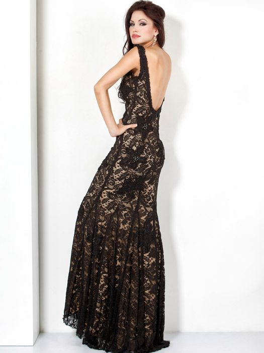 Jovani Long Black Lace Dress