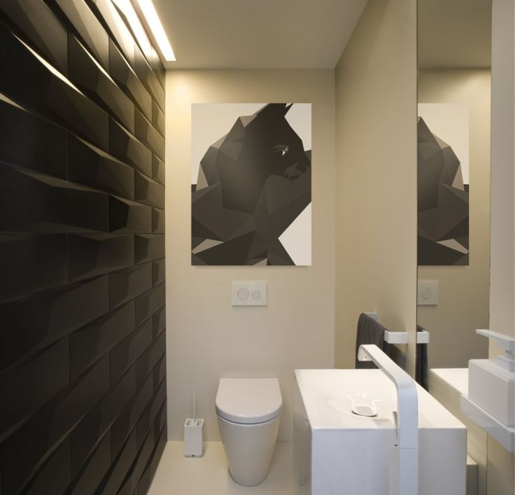 Apartment: Minimalist Krakow Apartment Designed by Morpho Studio, Krakow Apartment Small Bathroom Design with Black Wall and White Vanity Sink and Vertical Mirror by Morpho Studio