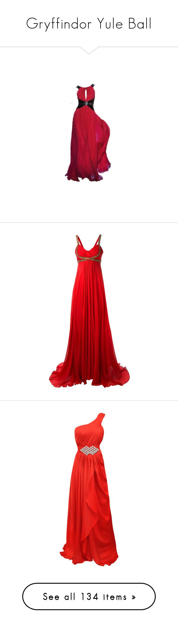 """""""Gryffindor Yule Ball"""" by somebodyyouknow on Polyvore featuring dresses, gowns, long dresses, robes, long red evening dress, monique lhuillier dresses, monique lhuillier gown, red evening gowns, red gown and vestidos"""