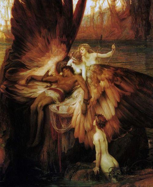 (Con la sua nota abilità, Dedalo costruì delle ali di piume e cera per fuggire da Cnosso. Herbert James Draper; Il lamento su Icaro; 1898)
