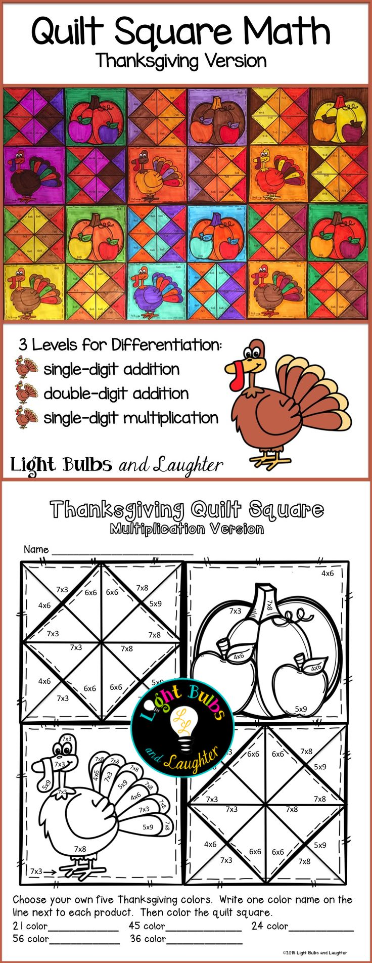 Celebrate Thanksgiving and practice math facts at the same time! Makes a beautiful display. Grades 2-4. TpT$