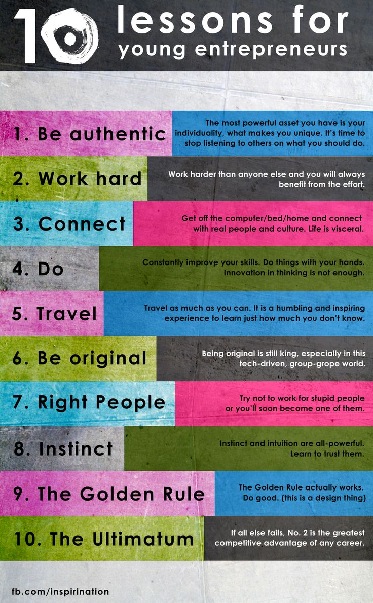 10 lessons for young entrepreneurs infographic #entrepreneur #Infographic
