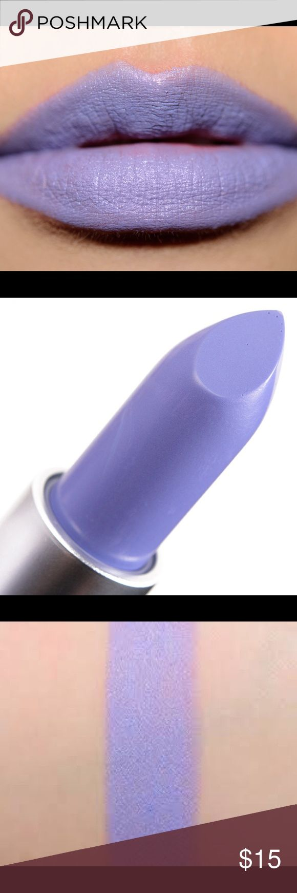 Mac Flatter Me Fierce Lipstick NIB Blue lavender purple Matte finish .new in box. I bought one, then my husband bought one. We couldn't return/exchange due to him being given the wrong receipt and mine was purchased at an airport location. MAC Cosmetics Makeup Lipstick