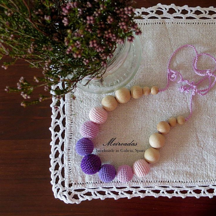 Purple love <3 Crochet necklace, teething necklace, ecofriendly necklace, organic necklace, babywearing necklace, nursing necklace