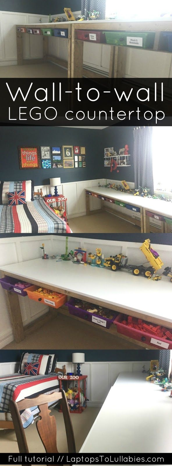 Laptops to Lullabies: DIY Lego countertops // Tons of storage and playing surface for the Lego-loving kid in your life. #tutorial #woodworking #DIY #LEGO #storage #organization #playroom #toys #toystorage