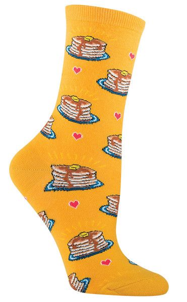 Mmm... stack o' pancakes... butter... syrup... love... Crew length socks with delicious warm pancakes on an ocean or gold background. Fits women's shoe size 5-10.