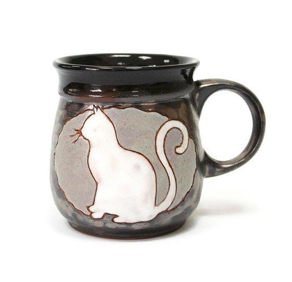 Kat mok mok van aardewerk, keramiek en aardewerk, leuke mok, koffiemok…
