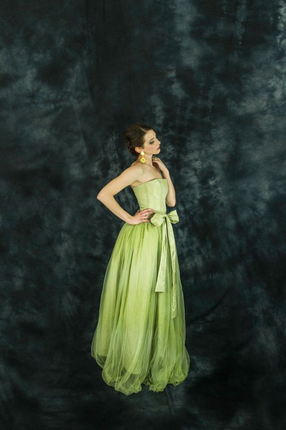 Lime green bridesmaid dress lime green tulle by ElaSiromascenko
