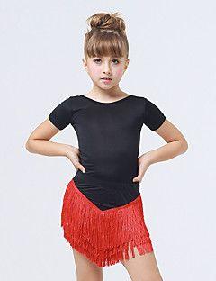 Dansetøj til børn Kjoler Børne Ydeevne Spandex / Polyester Frynsetip(s) 1 Stykke Kort Ærme Kjoler XXS:70CM,XS:75CM,S:80CM,L:90CM – DKK kr. 857