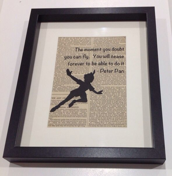 quote from Peter Pan on vintage dictionary page