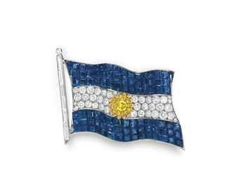 A HISTORIC MYSTERY-SET SAPPHIRE, COLORED DIAMOND AND DIAMOND ARGENTINE FLAG BROOCH, BY VAN CLEEF & ARPELS