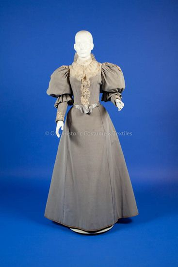 1890's Grey bodice and skirt with chiffon and applique