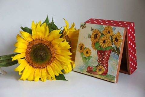 sunflower, sun flower box, decoupage box, handmade sunfowers