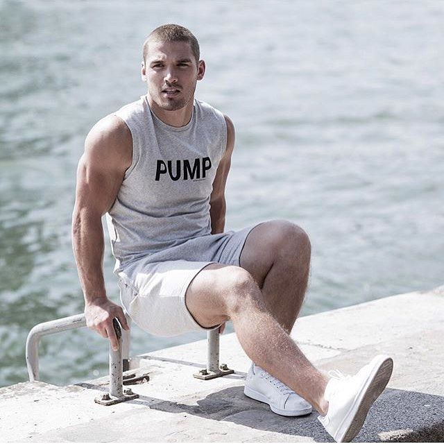 """Ron Dorff: """"Pump it up. @kerrydegman on the Quai de la Seine sporting the new collection. #rondorff #sportswear #springsummer2017"""" - Kerry Degman shot on the Seine River Banks, Paris Right Bank, in August 2016, by Luc Braquet for the Ron Dorff Spring Summer 2017 Campaign - March 9, 2017"""
